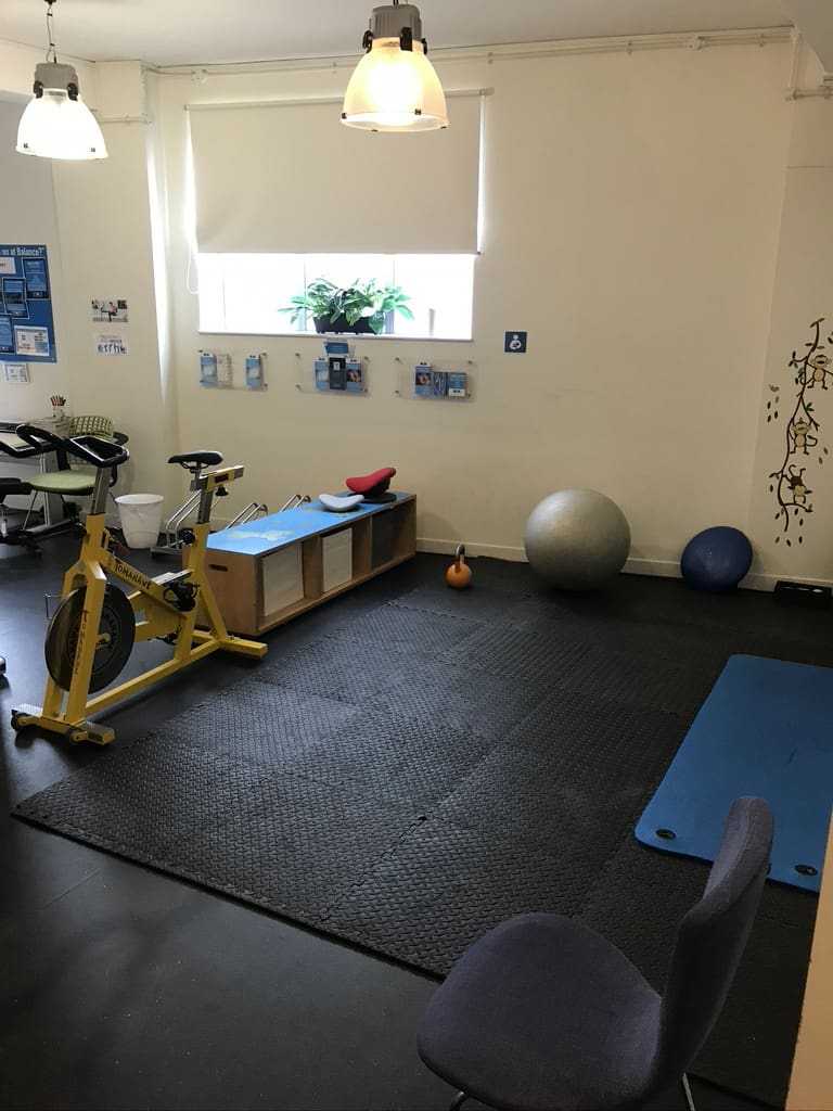 Balance Performance Physiotherapy facility: the bike and buggy area is currently an exercise area during COVID-19 social distancing needs